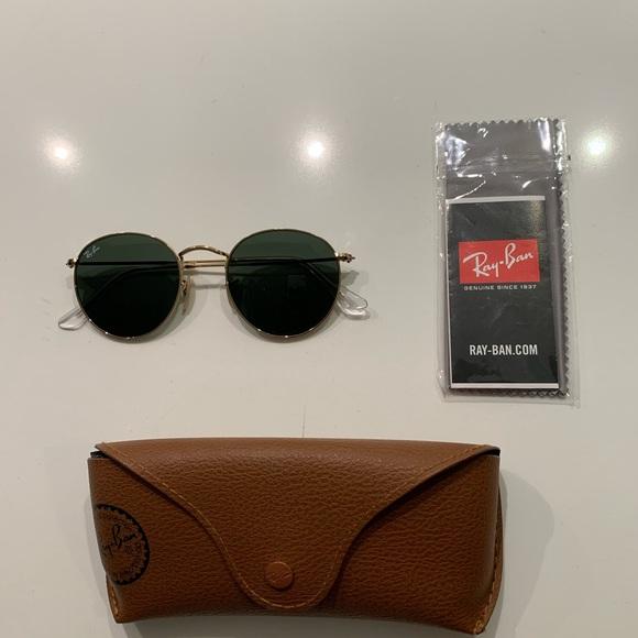 Ray-Ban Round Metal Sunglasses Gold/Green